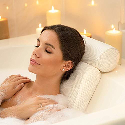 SilverRack [EINFÜHRUNGSANGEBOT Badekissen für Badewanne | Badewannenkissen mit Saugnäpfen als Badewanne Zubehör | Kissen für Badewanne zum Entspannen | Nackenkissen Badewanne mit Saugnäpfen weiß