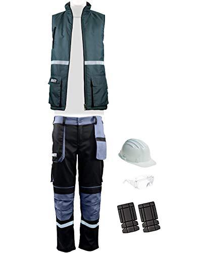 Bravery® Kit da Lavoro Professioanale con Pantaloni, Gilet Senza Maniche, Ginocchiere, Casco e Occhiali di Sicurezza - 100% Cotone - Made in EU (Nero - Blu, 46 - L)