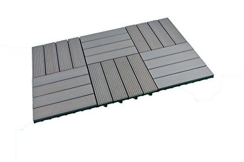 SORARA Azulejos de la terraza WPC, Gris, 30 x 30 cm, 6 Azulejos