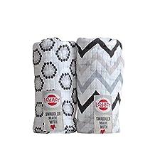Lodger SWCTH60091032 Spucktücher Baumwolle Zigzag Flower Print 2-Pack, schwarz / weiß
