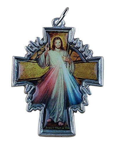 Eurofusioni Jesús de la Divina Misericordia Colgante Crucifijo chapeada Plata