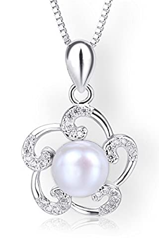 Startreasureland 925 Sterling Silver Pendant Necklace Flower with 7mm White Freshwater Cultured