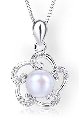 Startreasureland Collana con ciondolo in argento Sterling 925, 7 mm, motivo fiore con perla d'acqua dolce bianche coltivate