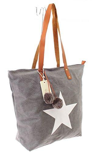 Shopper Canvas-Tasche Blogger Schultertasche Canvas Damen Handtasche Schultertasche Umhängetasche Henkeltasche (Grau) (Burberry Handtasche Canvas)