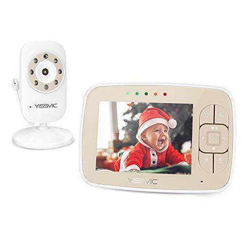 YISSVIC Babyphone Bébé Moniteur 3,5' LCD Couleur Ecoute Bébé Vidéo Babyphone Caméra Surveillance Bidirectionnelle 2,4 GHz Vision Nocturne Support 4 Caméras
