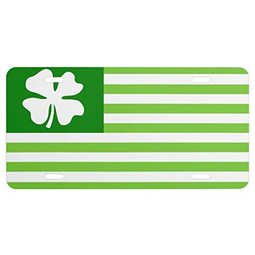 Irish Chrome License Plate Frame (Irish American Flag License Plate Green Shamrock)