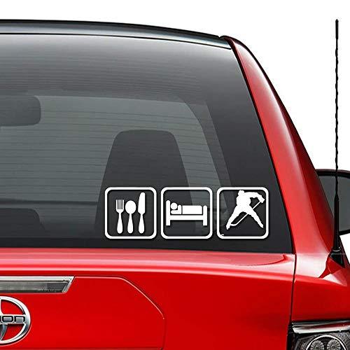 Seba5-Car sticker Essen Sie Schlaf Eishockey Vinyl vorgestanzte Aufkleber Aufkleber für Windows Wand Dekor Auto LKW Fahrzeug Motorrad Helm Laptop und mehr - (Größe 6 Zoll / 15 cm breit) / (Farbe Glanz