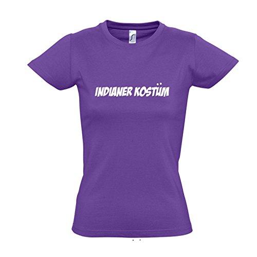 Shirt Kostüm Damen T Light - Damen T-Shirt - Indianer Kostüm FASCHING, KARNEVAL, PARTY SHIRT S-XXL , Light purple - weiß , S