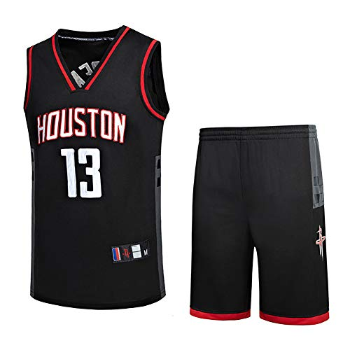 LUGLQA # 13 Harden Trikot männlich, Basketball Uniform Set Retro-Version schwarz Krieger Stickerei Handwerk Raketenteam so toll-XXXL