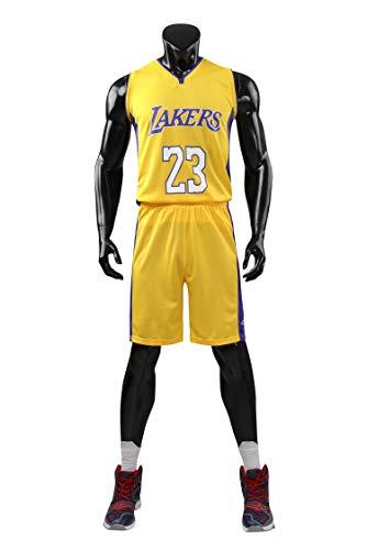 AGAB Herren NBA Lebron James # 23 Retro Basketball Shorts Los Angeles Lakers Sommer Jersey Basketball Uniform Tops und Short One Set-Yellow-XXL