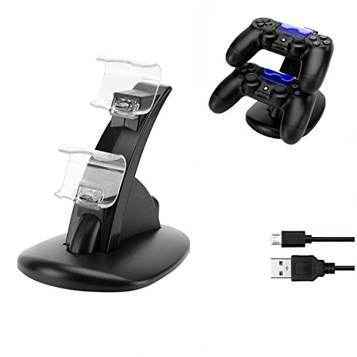 Dual USB Charging Desktop Charger Dock Station Stand Holder Cradle for Playstation 4 PS4 Controller with LED Light Indicators