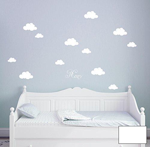 ilka parey wandtattoo-welt® Wandtattoo Wandaufkleber Wandsticker Aufkleber Sticker Wolken Wolke Wölkchen mit Namen M1682 - ausgewählte Farbe: *Weiß* - ausgewählte Größe: *M - Siehe - Welt Aufkleber