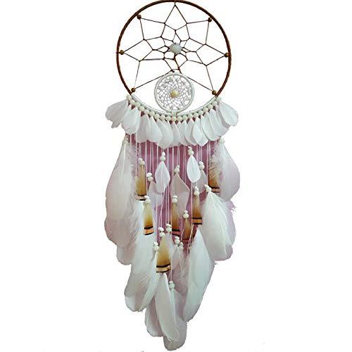 Nativen Fringe (HAIHF Große Traumfänger, Handgemachte Dream Catcher Windspiele Haus Anhänger Zubehör Wandkunst Dekoration, Dream Catcher NatüRliche Traditionelle Perle Detail Native American Indian)