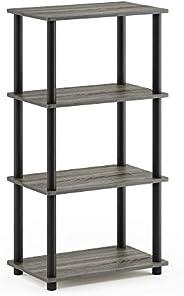 Furinno Turn-N-Tube No Tool 4-Tier Storage Shelf, French Oak Grey/Black