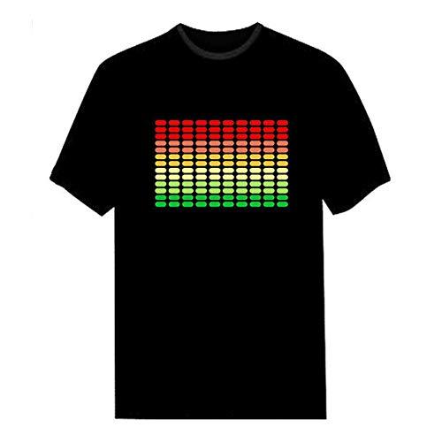 SODIAL Camiseta Led Activido de Sonido para Hombre Ecualizador de Disco Rock Iluminar Brillante Camiseta Led de Manga Corta M