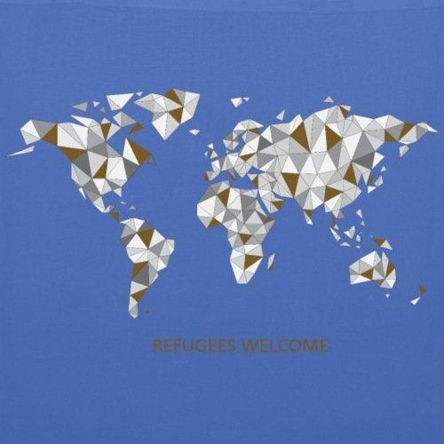 Spreadshirt Refugees Welcome Origami Welt Stoffbeutel Hellblau