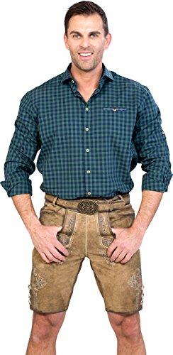 Almwerk Herren Trachten Lederhose kurz Modell Ludwig mit Gürtel in braun, hellbraun und dunkelbraun, Größe Herren:48, Farbe:Braun