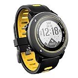 Allenrous GPS Smart Uhr, Fitness Tracker Mit Höhenmesser Barometer Kompass Pulsmesser IP68 Wasserdichte Digitale Sportuhr Für Outdoor-Sportarten (Farbe : Gelb)