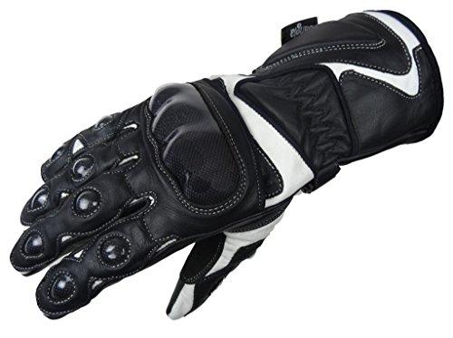 Bangla 5011 Motorrad Handschuhe Motorradhandschuh Leder Carbon-Kevlar schwarz weiss L