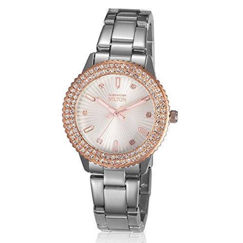 ALEXANDER MILTON - montre femme - VESTA, argente/dore rose
