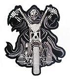 Klicnow Reaper en Moto Parche Posterior (Negro) 25cm x 30cm (10