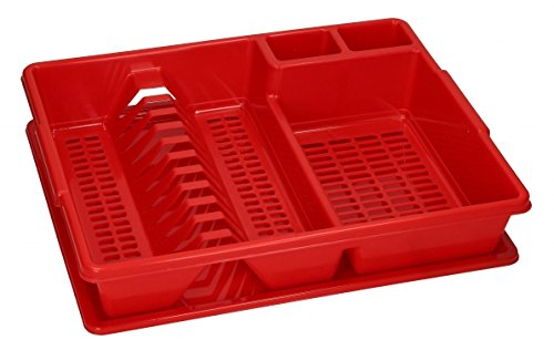 Large Dish Drainer Rack Utensil Cutlery for Kitchen, Plate Holder with Dripping Tray (43x35x9 cm with TRAY, Red)