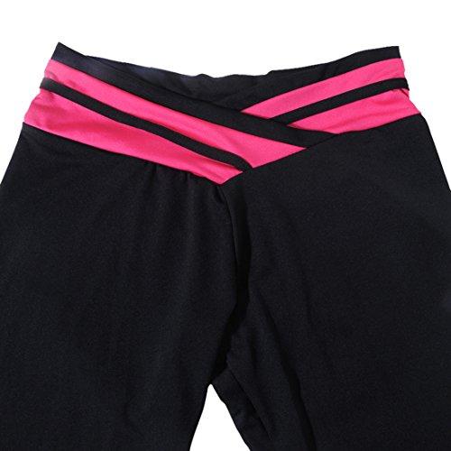 Vertvie Femme Leggings de sport Pantalons Capri Collant Élastique Taille Épissage pour Fitness Jogging Yoga Gym 3/4 Longueur Noir+Fuchsia