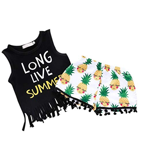 Ruiboury 2ST Mädchen-Buchstabe gedrucktes Troddel-Weste Ananas Shorts Bekleidung Kostüm
