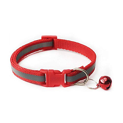 PENVEAT Heißer Glocken Halsketten-Kragen-Welpen 1PC Hundehalsbänder Qualitäts-Hundehalsbänder Einstellbare Pet Supplies Modische, Rot, M