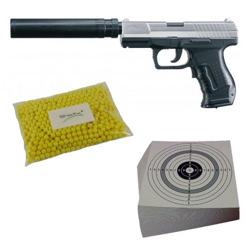 Walther P99 DAO Xtra Kit Vollautomatik, Softair, 6 mm BB, 0,5 Joule, Ersatzmagazin + 2.000 ShoXx. Airsoft BB 6mm 0,12 Gramm + 25 Zielscheiben 14x14 cm mit zusätzlichen grauen Ring und 250 g/m² (Set P14)