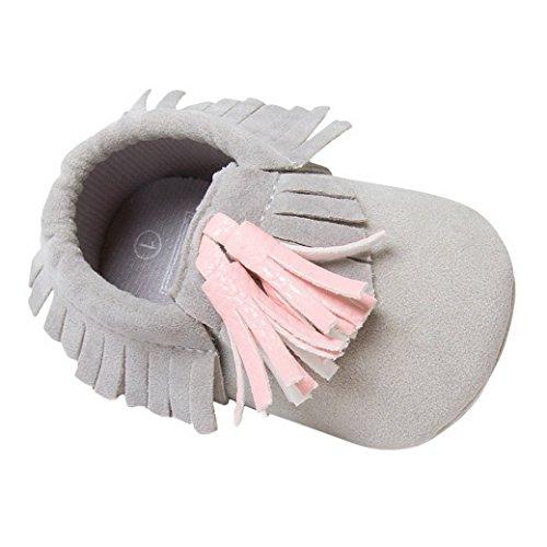 Happy Cherry Classique Chaussures Premiers Pas Bébé Fille Garçon Style Britannique en Cuir Artificiel Slip-on sans lacets Semelle Souple Moccasins Frange Printemps Automne Mariage Baptême 0-18mois