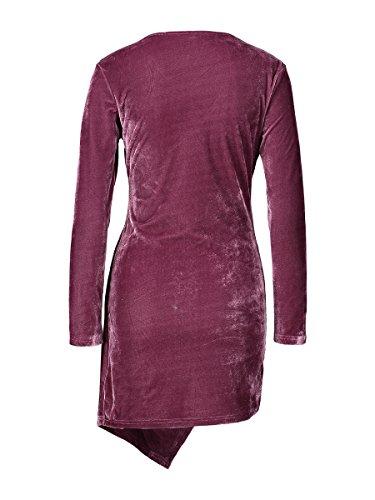 Donnagelia Damen Mini Samt Kleider V-Ausschnitt Abendkleid Cocktailkleid Langarm für Herbst Winter Grün