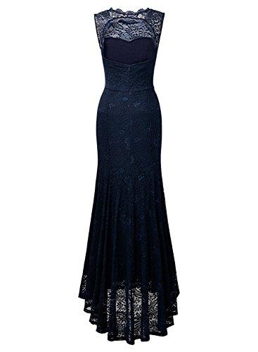 MIUSOL Robe de Soirée Dentelle Cocktail Longue Pour Mariage Femme,Fleur Robe de Fete Col Rond Femme Vintage Retro Sans Manches Bleu