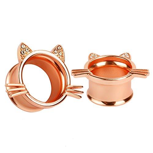 KUBOOZ (1 Paar) Nette Rose-Gold Kitten Ohrstöpsel Tunnel Messgeräte Keil Piercings