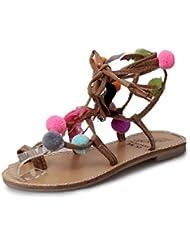 Tongshi Sandalias de cuero de las mujeres de Pom Pom piruleta colorido con cuentas Conchas sandalias