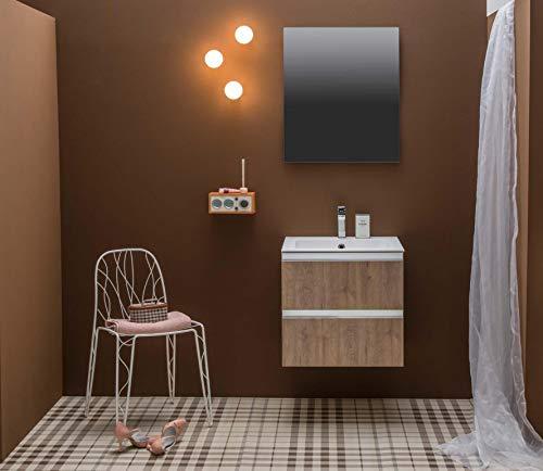 Dafnedesign.com - mobile da bagno con top in ocritech effetto legno (cm. l58 x p48 x h55)