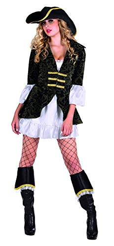 Nerd Clear Piratin Kostüm für Damen | Größe 36/38 | 4-teilig: Hut, Kleid, Jacke, Stiefelstulpen | hochwertig und ideal für Karneval & Fasching (Jack Sparrow Stiefelstulpen)