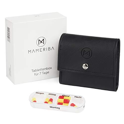 MAMERIBA Tablettenbox 7 Tage | Medikamentenbox im Leder Etui | Pillendose für Tabletten, Vitamine, Medikamente & Nahrungsergänzung | schwarz, weiß