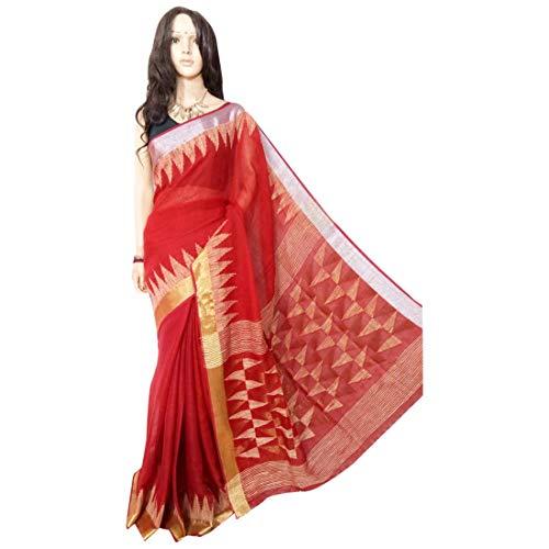 ETHNIC EMPORIUM Indisches ethnisches Leinen Jamdani Saree Sari red Colored Fancy Damenkleid 100a -