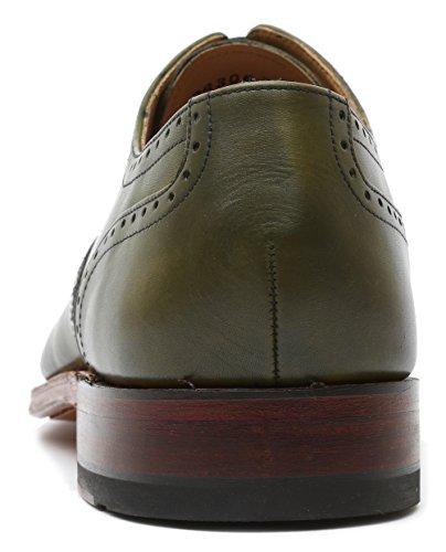 Gordon & Bros Scarpe Da Uomo Lucquin 2830 Classic Business Da Uomo Con Stringhe Da Lavoro Stringate Allacciate Oxford, Suole In Cuoio, Borchiato Davanti, Goodyear Verde