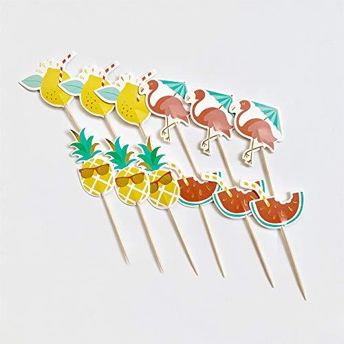 ZARRS Kuchendekoration,24 Pack Hawiian Luau Themenparty Hochzeitstorte Dekoration für Geburtstagsfeiern Obst Picks Lebensmittel Picks