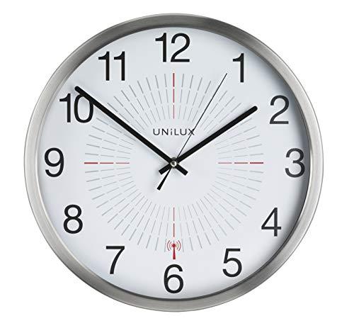 UNILUX 400094566 große Funk-Wanduhr Outdoor 35,5 cm grau für drinnen- und draußen deutsche Präzision Quarzwerk Analoge Uhr fürden Außenbereich - Wand-wetter Rahmen