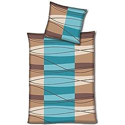 Hahn Haustextilien Edel Flanell Bettwäsche 173015 in blau beige 135x200 + 80x80