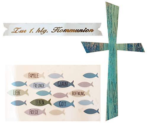 Efco/Hdk-Versand Wachsdekore Verzierwachs 3 TLG zur Kommunion/Konfirmation (Kommunion Blau)