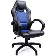 SONGMICS Racing - Silla de Escritorio computadora Oficina ergonómica Regulable PU, 111-121 cm