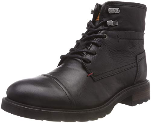 Tommy Hilfiger Herren Winter Leather Textile Mix Combat Boots, Schwarz (Black 990), 43 EU Combat Boot