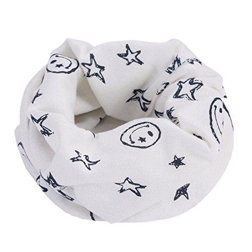 FORH-Baby Kinder Loop Schlauchschal FORH Warm weich Baumwolle Schal Unisex Junge Mädchen Sterne muster mode Schal Winter Basic Halstuch ultraleichte Rundschal viele Bunte Farben (Weiß)