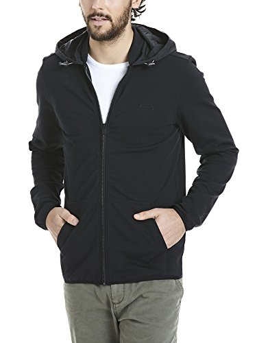 Bench Herren Strickjacke Zip Hoodie with Nylon Mix Schwarz (Black BK022)