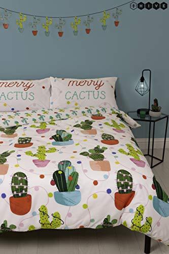 hive merry cactus natale copripiumino singolo e federa coordinata reversibile biancheria da letto (singolo)