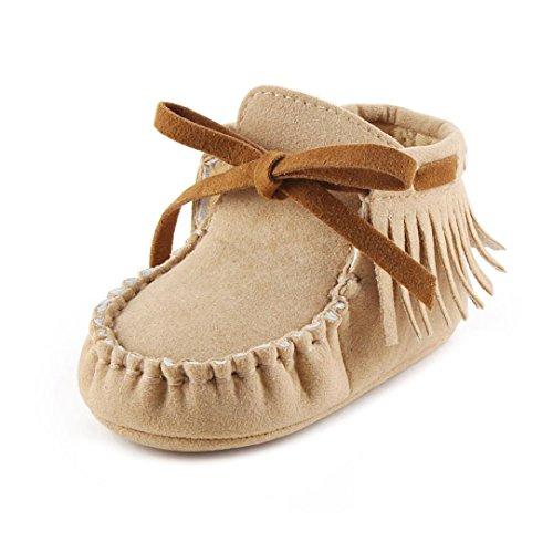 Clode® Bébé Tout-Petite Enfant Bottes Prewalker Chaussures Tassel Soft Sole (6~12 mois, Rouge pastèque) Khaki